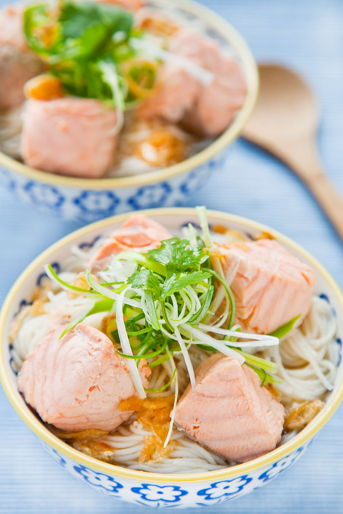 Authentic Salmon Rice Noodle Soup Recipe as cooked by Taiwanese chef Liv Wan
