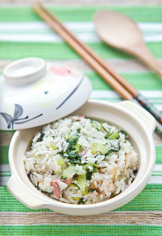 Authentic Chinese Cooked Rice with Bak Choy and Gammon recipe