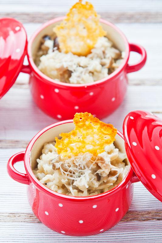Mushroom Risotto with Parmesan Crisp