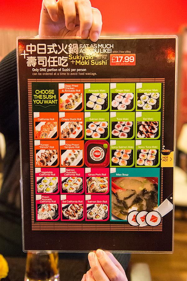 Yes Sushi Sushi Menu