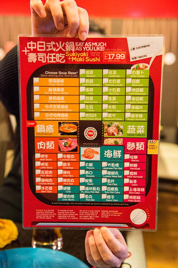 Yes Sushi Hot Pot Menu